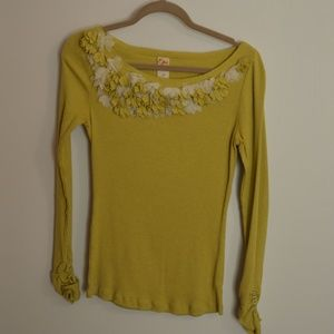 Anthropology chartreuse sweater